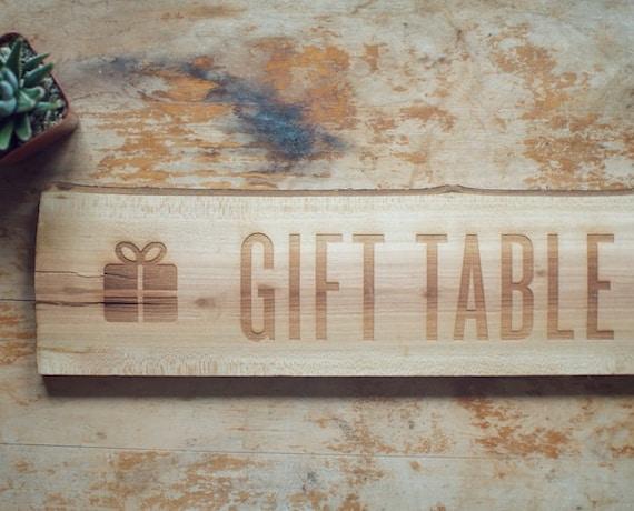 Oak Wood Gift Table Sign for Rustic Weddings