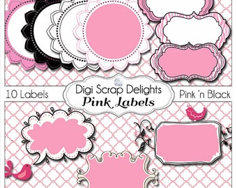 2 Dollar Sale! Pink and Black Labels 1 Clip Art for w Zebra Stripes, Polka Dots Digital Scrapbook Bible Journaling, Card Making