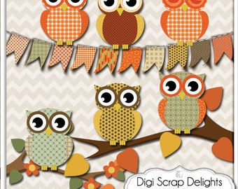 Fall Owls Clip Art  Thanksgiving Scrapbooking, Autumn  Colors Brown, Gold, Oranges, Instant Download