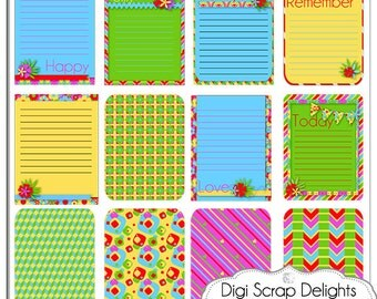 Project Life Inspired Journal Cards, Bright Fun Pocket Cards, Printable PDF & PNG, Digital Scrapbooking, Instant Download