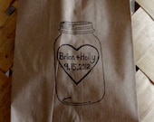 Rustic Wedding Personalized Mason Jar Candy Buffet Paper Bags with Large Heart Couples names and Date - set of 100