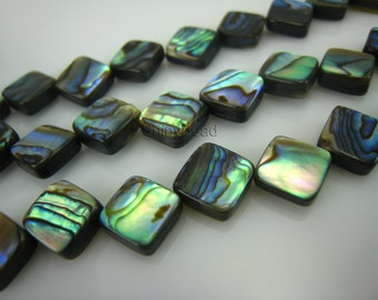 abalone shell flat square bead 8x8mm 15 inch strand