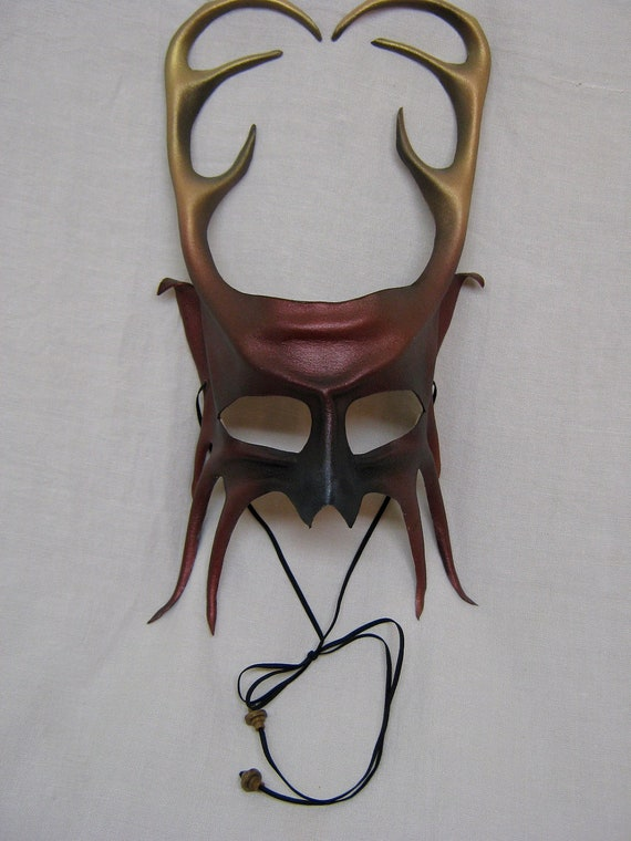 Leather stag mask with horns, Cernunnos, or young deer with antlers