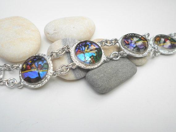 Vintage bracelet, RIO de Janiero reverse painted glass butterfly wing jewelry