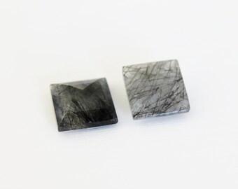 GCF-2064 - Natural Faceted Black Rutilated Quartz Gemstone - Sqaure 16mm - AA Quality - 1 Cab