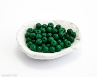 Czech Green Beads 4mm (100) Small Glass Pressed Round Druk Opaque Spacers Thin Spring last