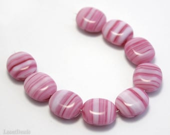 Candy Pink and White Czech Beads 14mm (10) Pressed Opaque Glass Flat Oval Large Striped Big