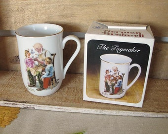 """Norman Rockwell """"The Toymaker"""" 1982 Collectible Vintage Mug with Box"""