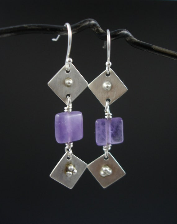 Sterling silver and amethyst granulation studded dangle earrings