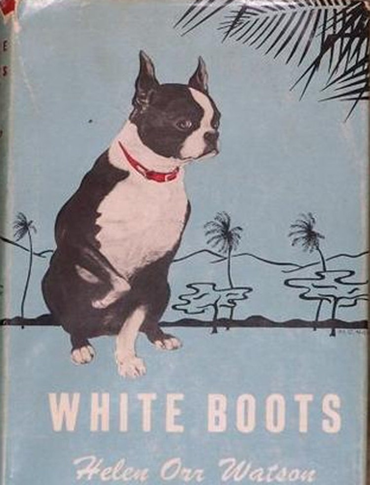 White Boots Vintage Boston Terrier Print By Pawmazinggifts
