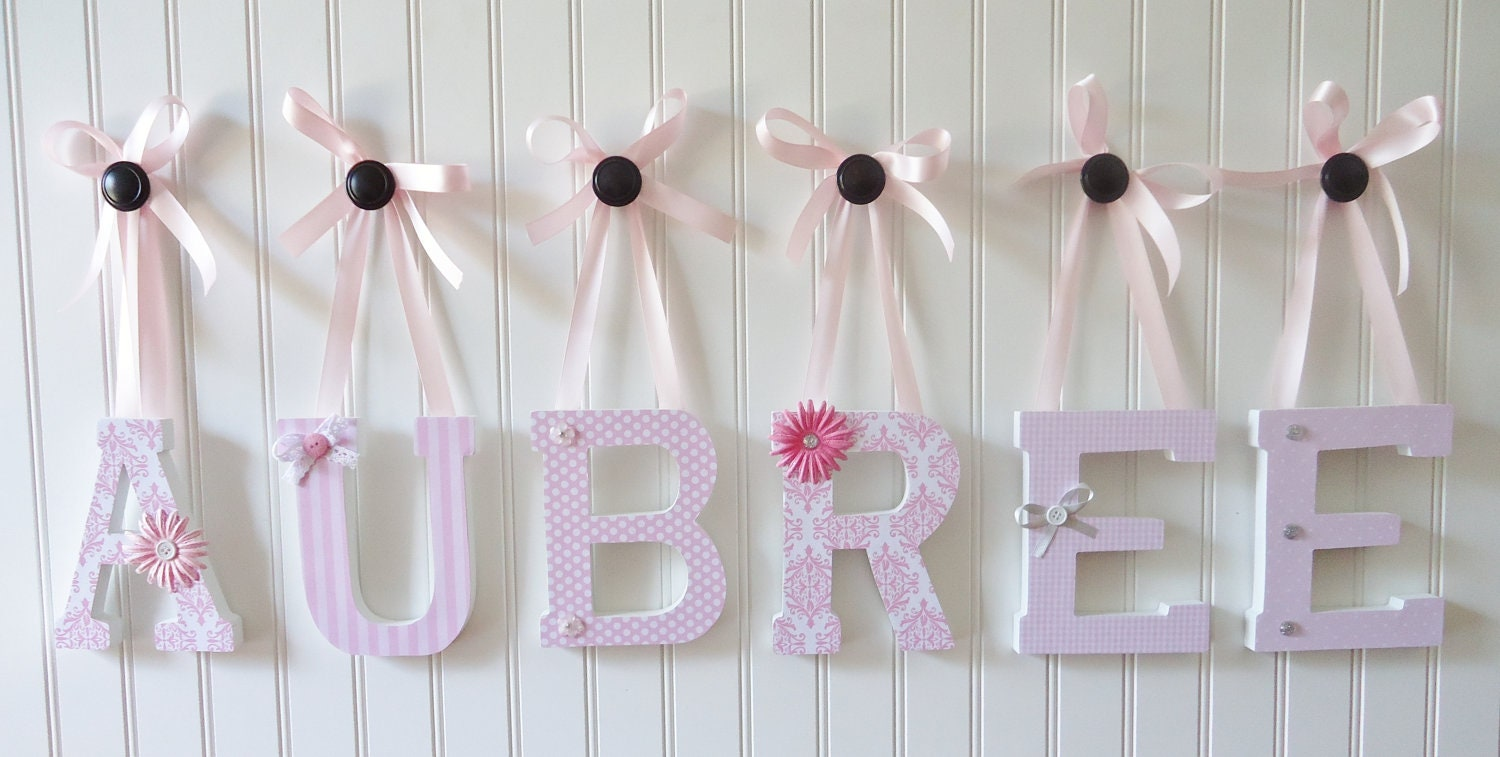 Nursery Decor Wooden Wall Letters : Wall letters nursery decor wooden by fabbdesigns