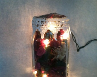 Mulberry Scented Potpourri Mason Jar Light