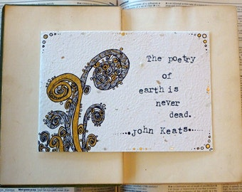 Original Illustration, John Keats Quote - Poetry of Earth, Literature Art, Nature Illustration Art