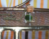 SALE!!! Miniature Marimo Plant Moss Ball in Tiny Bottle Necklace Terrarium
