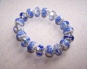 """Bracelet_BLUE BEADS/ Stretchy. 7 1/2"""" - 8"""" /Alternating blue, white, and smaller light blue beads/  Best offer/ 14.00"""