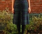 RESERVED Vintage 1960s Wool Plaid Skirt / High Waisted Dark Green and Blue Tartan Skirt / Size Medium / Sixties Fall Skirt with Buttons