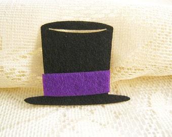 Felt applique Iron on Applique Black Violet Magician Hat, Patches ,kid, baby shower, toys,baby shower, bag decoration, shirt, skirt , F5