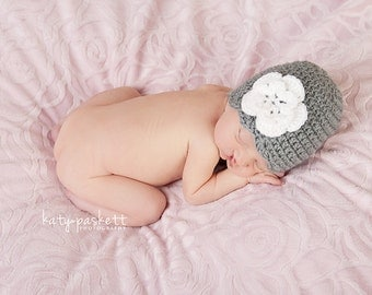 Scallop Edge and Flower Crochet Baby Beanie Hat Made to Order All Sizes (Newborn - Toddler)