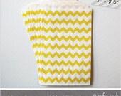 Yellow - Chevron - Medium Favor Bags - 10