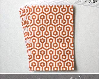 Orange - Honeycomb - Medium Favor Bags - 10
