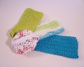 Earth friendly dishcloth gift set with cotton washcloths in blue green and white and upcycled plarn scrubbie