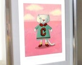 """Cute white cat on pink with letter C - Illustration print for nursery - Cute kitten for baby girl's room (11""""x17"""")"""