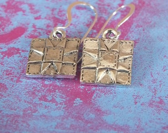 Quilt Jewelry - Sterling Silver Earrings with a knitting, sewing, quilting theme - Sawtooth Star