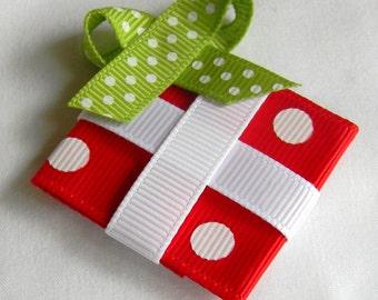 Christmas hair bow, Christmas gift hair clip, Red White Green Girls hair bows, Baby, Toddler, Christmas Holiday Hair clip