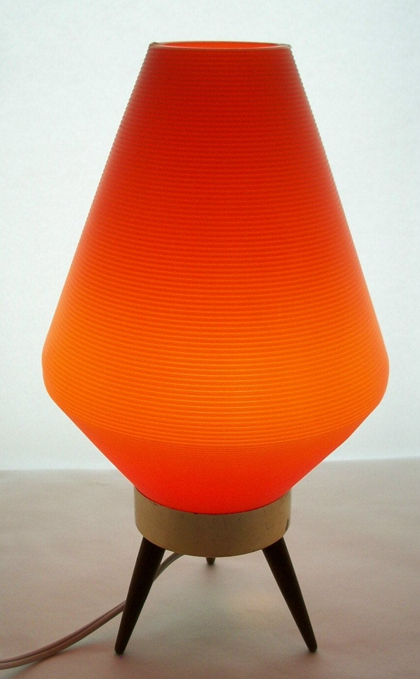 Rare vintage mid century modern atomic orange lamp eames era for Eames lampe