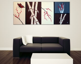ORIGINAL abstract, asian zen style bamboo, cherry blossom, butterfy and asian wild flower