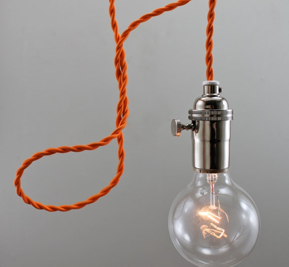 suspension ampoule nue moderne orange par goldheartsupply sur etsy. Black Bedroom Furniture Sets. Home Design Ideas
