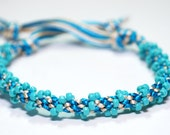 Kumihimo Bracelet Beaded Teal Blue Beads Water Beach Jewelry