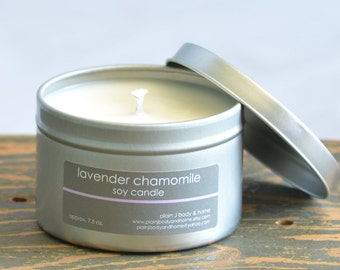 Lavender Chamomile Soy Candle Tin 8 oz. - relaxing soy candle - chamomile soy candle - lavender soy candle - spa soy candle