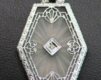 Antique White Gold Camphor Glass and Diamond Filigree Pendant