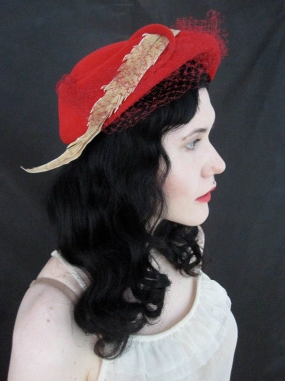 1950s Red  Hat with Feather and Veiling