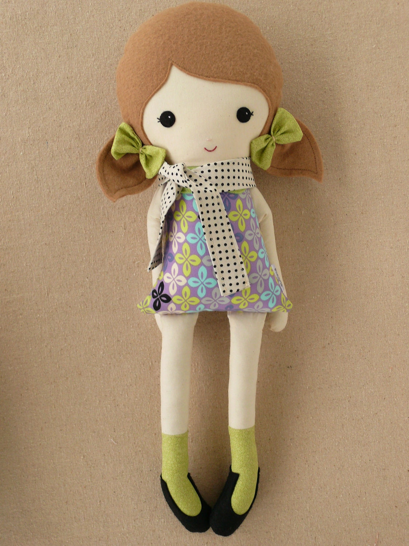 Fabric Doll Rag Doll Girl In Polka Dotted Scarf