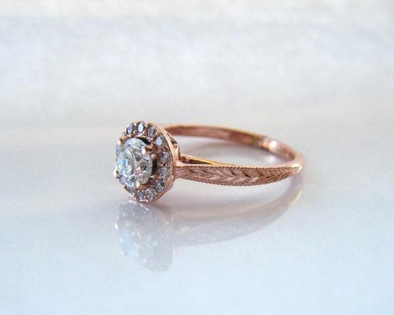 Hand Engraved Rose Gold Heart Basket Diamond Halo