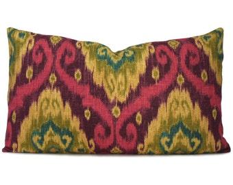 Purple Ikat Decorative Lumbar Pillow Cover in Ubud Tourmaline - Accent Pillow - Throw Pillow - Designer Pillow - Pillow Case