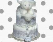 2 Layer - Jesus Loves Me White Lamb Baby Shower Diaper Cake