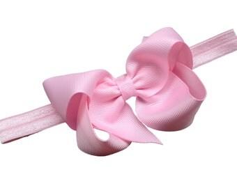 Light pink baby headband - pink baby headband, pink newborn headband, baby bow headband pink headband, baby girl