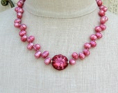 Hot pink pearl necklace Lampwork glass beaded necklace Single strand pearl jewelry Sterling silver bead Beaded jewelry
