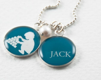 Child Silhouette Pendant   Personalized Name Necklace   Choose Colors & Name   Mom Aunt Grandmother Gift