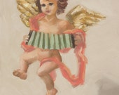 Original Oil Painting on Wood Panel - Still Life, - Mischievous Angel -  7 x5 inches