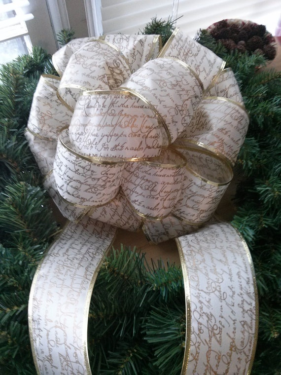 Christmas Tree Bow Topper - Ivory Cream Colired Ribbon with Gold Trim and Gold French Script Pattern - Two Matching Trails