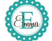 Vinyl Wall Decal Scallop Frame Monogram Initial and Name Shabby Chic Nursery Wall Decal baby girl -GREAT DEAL