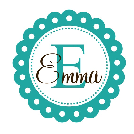 Vinyl wall decal scallop frame monogram initial and name shabby chic