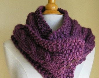 "Cabled Scarf -- ""Lucky Horseshoes"" -- Wool Blend -- Long Version, with button options"