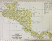 Central America Vtg Map, 1928