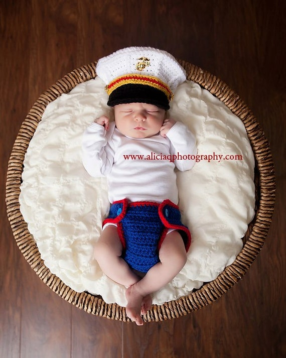 Crochet Baby Marine Hat Pattern : Original Design Crochet Marine Corps Officer by ...
