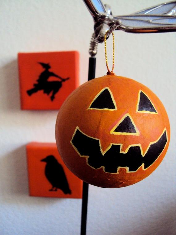 Little Jack O Lantern Ornament - Halloween Decor - Folk Art Decoration - Cute Scary Spooky Pumpkin Face Bauble - Orange Black Jackolantern